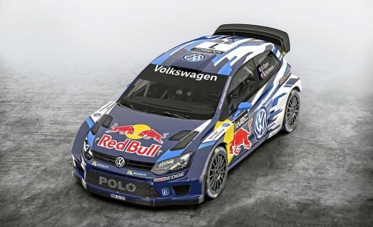 photo de l'avant de la Polo R WRC 2e génération vue légèrement de haut